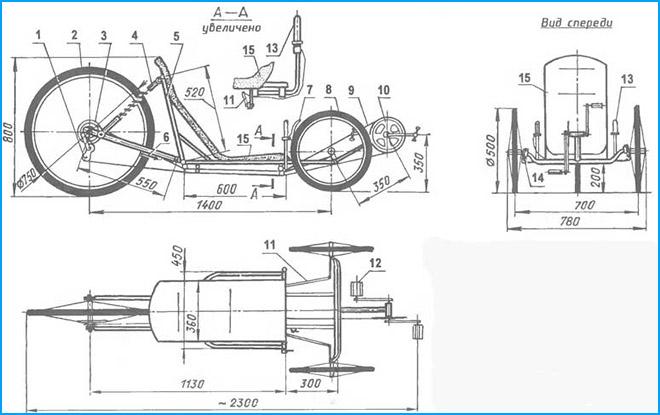 Чертежи трехколесного велосипеда