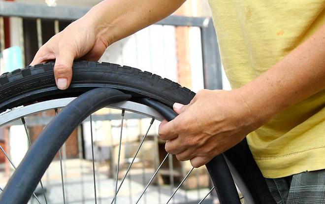 Вулканизация резины на велосипеде